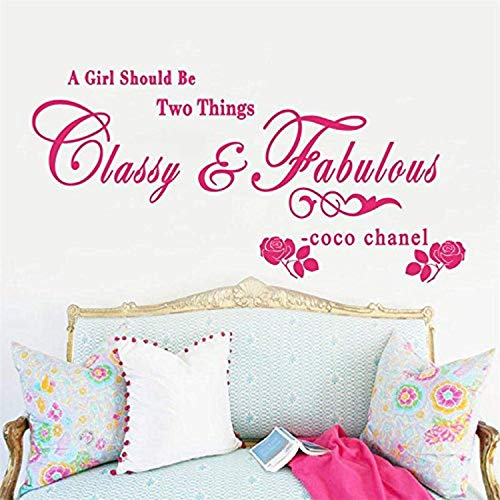 Art Quote Saying Home A Girl Should be Classy Fabulous - Coco Chanel Rose Wall Decals Mural Decor Vinyl Sticker SK5917