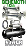 """BEHEMOTH"" 152db Triple Trumpet Train Style Air Horn & VIAIR 280c 150psi 2gal. Complete Kit- Earth Shaking"