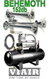 ''BEHEMOTH'' 152db Triple Trumpet Train Style Air Horn & VIAIR 280c 150psi 2gal. Complete Kit- Earth Shaking