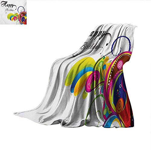 (Birthday Warm Microfiber All Season Blanket Spiral Colorful Abstract Floral Elements Modern Greeting Card Celebration Inspired Warm Microfiber All Season Blanket for Bed or Couch 80
