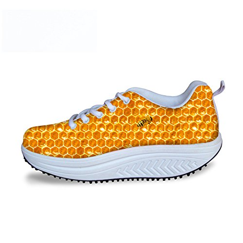 FOR U DESIGNS Fashion Stripe Print Womens Wedges Platform Walking Shoes Yellow B ojBgmVWhCJ