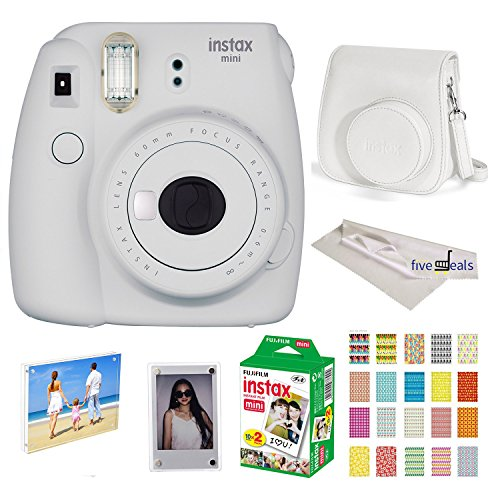 Twin Kit Camera (Fujifilm Instax Mini 9 instant Fuji Camera SMOKEY WHITE+ Camera Case + instant Mini 9 Film Twin Pack + instax Picture Frame + Magnet Frame + 20 Border Stickers Kit +FREE Cleaning cloth (Smokey White))