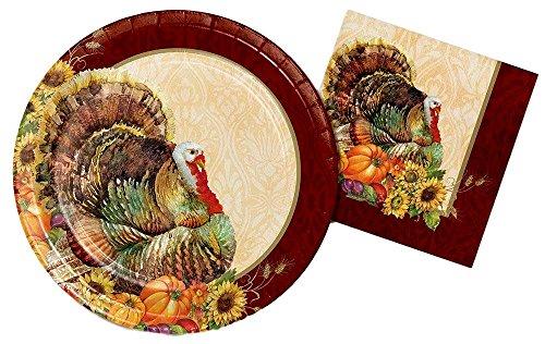 Thanksgiving Turkey Premium Strength Paper Plates and Napkins