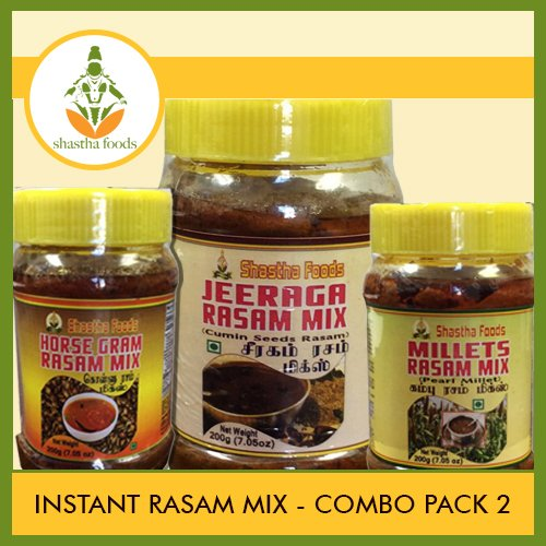 Shastha Instant Rasam Mix Combo Pack of B(Contains 6 nos) Shastha (Kambu Rasam Mix-2, Kollu Rasam Mix-2 & Jeeraga Rasam Mix-2) Each item 200g (T-B) by Shastha Foods