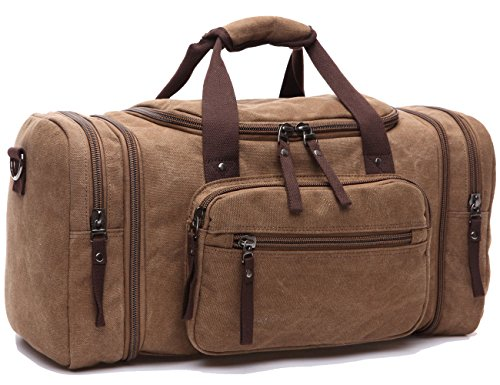 Leaper Extra Large Canvas Travel Tote Duffel Gym Bag Weekender Shoulder Handbag (Coffee)