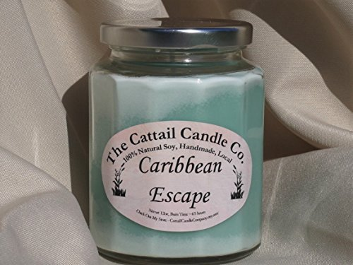 Candle Cattail (Caribbean Escape - 100% Soy Candle, 12 fl oz)