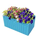 Outdoor Rectangular Planter Box Grow Patio Garden Flower Plant Planter Vegetable Herb Raised Planter Box Windown Planter Box(12.5 Gallons) Blue