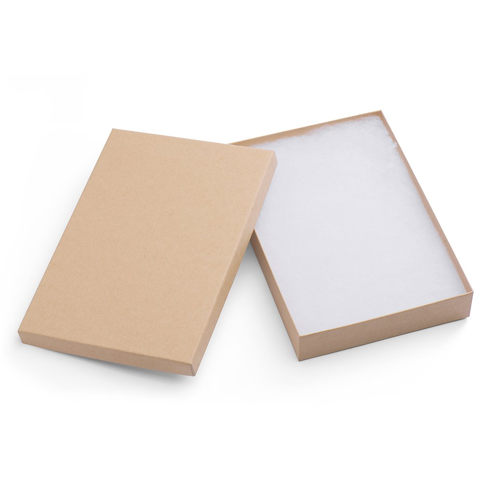Mesha Cardboard Paper Box for Jewelry and Gift 8x5.5x1.25 inch Thick White Paper Box with Cotton Lining (20pcs, Brown) MS-26