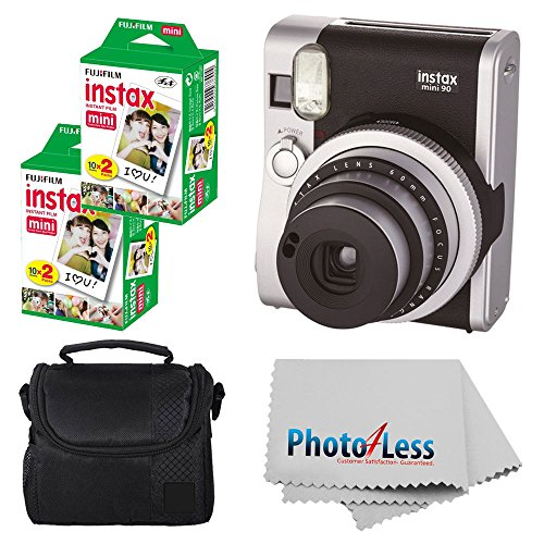 Fujifilm INSTAX Mini 90 Neo Classic Instant Camera (Black) With 2x Fujifilm Instax Mini 20 Pack Instant Film (40 Shots) + Compact Camera Case + Cleaning Cloth – International Version (No Warranty)