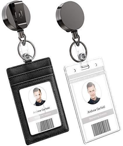 Heavy Duty Metal Retractable Badge Holder Reel with Belt Clip Key Ring, Waterproof Vertical Clear ID Card Holder and PU Leather Badge Holder