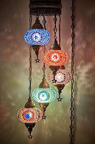 ((Choose from 12 Designs) Turkish Moroccan Mosaic Glass Chandelier Lights Hanging Ceiling Lamps (XLarge-2))