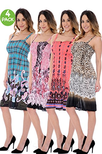 4-Pack Unique Styles Women's Summer Ultra Soft Flowy Floral Print Sundresses - Assorted Colors,Large