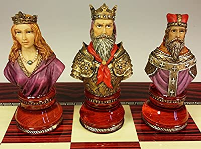 Large Medieval Times Crusades Red and Blue Busts Chess Men Set - NO BOARD