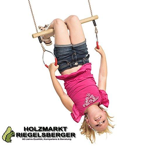 Trapez mit Metallringen Holz Turnringen Seilringen Ringen von Gartenwelt Riegelsberger