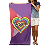 Colivy Love Dance Rainbow Heart Quick-drying Pool Beach Towel Travel Bath Towel For Adults