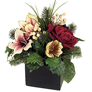 12 Inch Potted Christmas Amaryllis and Rose Arrangement with Pine Leaves Autograph Foliages 11