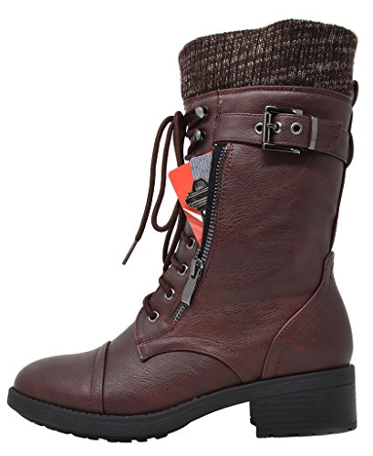 DREAM PAIRS Damen Winter Kunstpelz gefütterte Kragen Gummi Outsole Snow Ankle Boots Booties Burgund-a