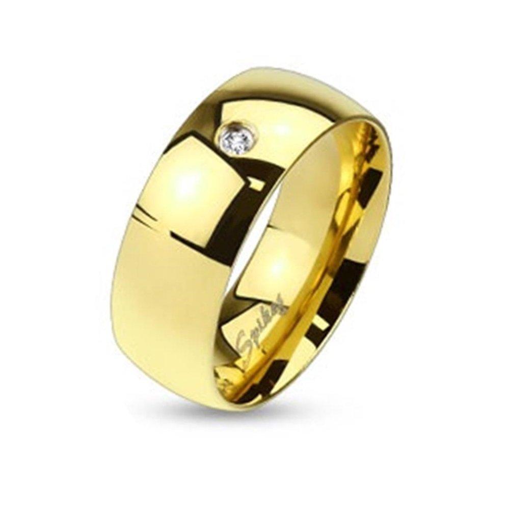 Paula & Fritz anello in acciaio INOX chirurgico 316L oro 6 mm larghezza Classic Line con Single zirconi anello disponibile taglie 47 15 - 69 22 R012-6