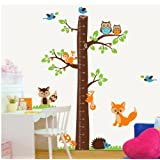 Giant jungle animals nursery wall decal for boys n girls room removable Forest tree Kids Growing chart (measurable 0-170cm) wall mural for baby Children wall art sticker - by FUNGOO