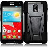 For LG Optimus F7 US780 T-Stand Impact Hybrid Fusion Kickstand Double Layer Cover Case Black/Black