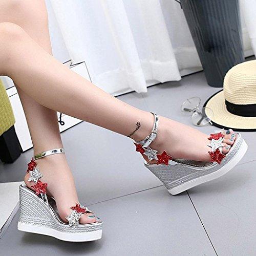 Abendschuhe Bohemia Mund Bequeme Hausschuhe Plattform Heels VENMO Sandalen Fünf Sommer Outdoor Casual Schuhe Silver Wedge Slope Sterne Fisch Strandschuhe Sandalen Flach Frauen Sandalen High YCSnaqCO