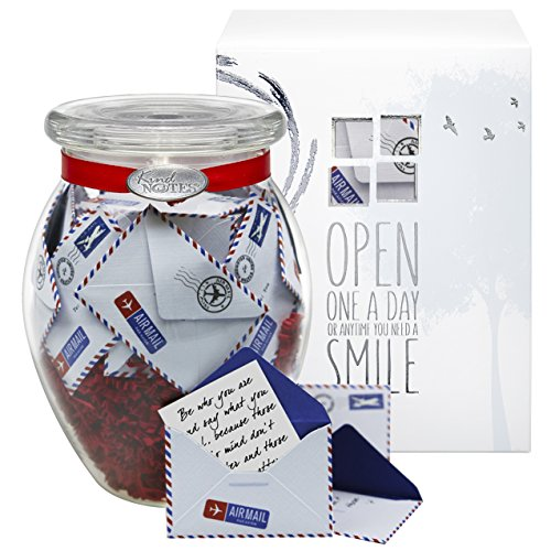 Glass KindNotes LOVE Keepsake Gift Jar of Messages for Him or Her Birthday, Anniversary, Long Distance Relationship - Airmail Red