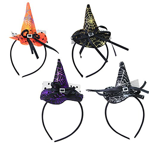 UCLEVER Witch Party Hats Halloween Headbands Cosplay Photo Props Party Supplies for Kids and Adults Halloween Costume Party Decoration, Pack of 4