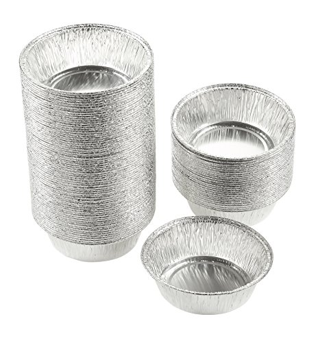 Aluminum Foil Pie Pans - 100-Piece Round Disposable Tin Pans for Baking, Roasting, Broiling Cooking, For Temperatures Up To 500-F, 4.9 x 1.5 x 4.9 Inches