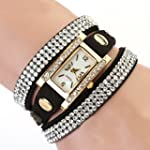 Women's Vintage Square Dial Rhineston...