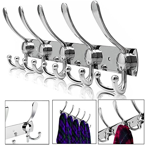 Calar Wall Mount Clothes Hooks, Over Door Coat Hook Hanger Rack Stainless Steel Hanger Robe Hat Clothes Wall Mount Hook Key Towel Rack for Home Bathroom Kitchen (5 Hooks) (15 hooks) by Calar