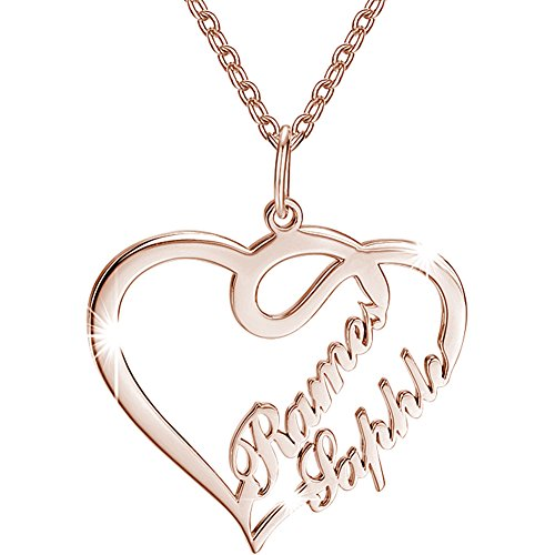 SOUFEEL Custom Name Necklace Rose Gold Plated Copper Heart N