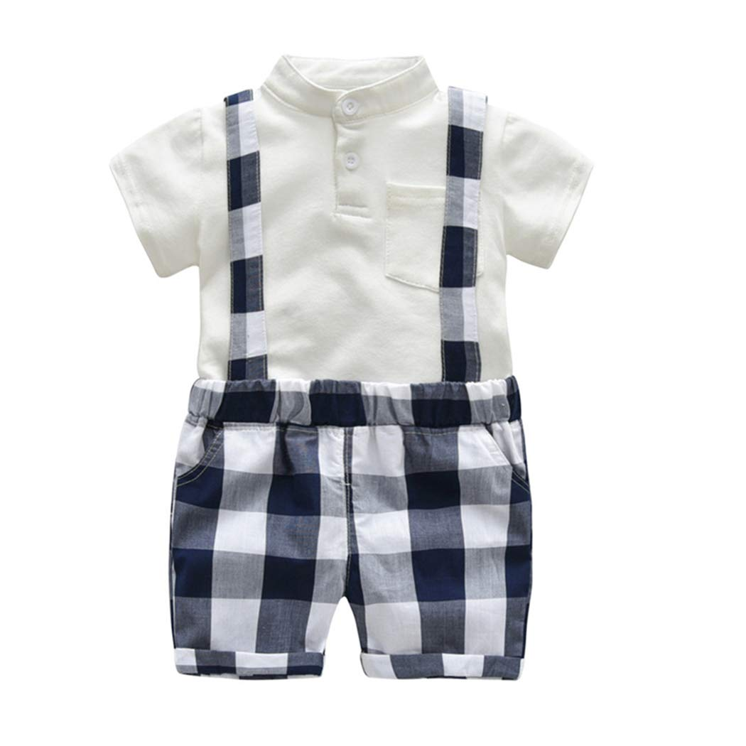 FCQNY Kid Boy Summer Short Sleeve Solid Cotton Polo T-Shirt+Suspender Shorts Sets
