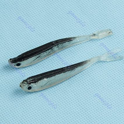 Fishing 2pcs New 75mm 2.2g Soft Tiddler Bait Fluke Fishing Saltwater Lure Tackle Treble Dependable Performance