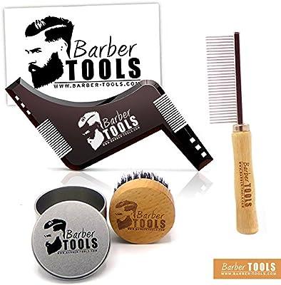 ✮ BARBER TOOLS ✮ Kit / Set / Estuche de arreglo y cuidado de la barba. Peine para barba + Cepillo para barba 100% pelo de jabalí + Peine plantilla guía barba.: Amazon.es: Belleza