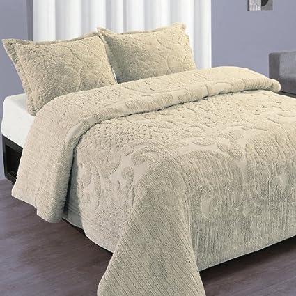 Chenille Bedspreads.Queen Natural Ashton Luxury Cotton Chenille Bedspread