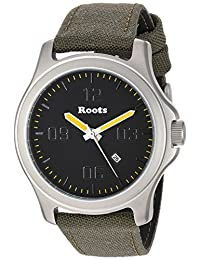 Roots Men's 'Core' Quartz Stainless Steel and Canvas Casual Watch, Color:Green (Model: 1R-LF400BA6G)