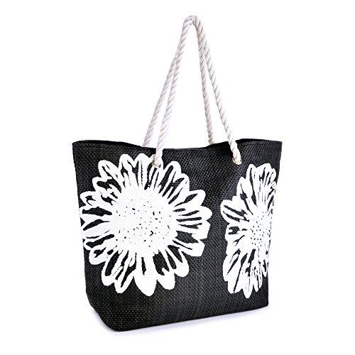 Summer Bags Sacs d'été pour femme Fleur Impression sur toile Corde Poignée Sac à bandoulière Noir