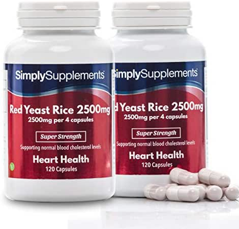 Red Yeast Rice 2500mg Super Strength | Supports Healthy Cholesterol Levels | 240 Capsules in Total = 60 Day Supply