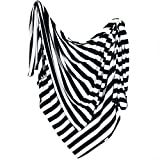 """Large Premium Knit Baby Swaddle Receiving Blanket Black and White """"Classic"""" by Copper Pearl"""