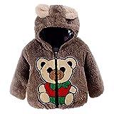 Baby Boys Girls Cute Bear Fleece Thick Hooded Coat Winter Warm Snowsuit