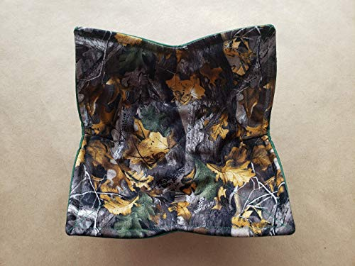 Camouflage Microwave Bowl Cozy Camo Reversible Microwaveable Potholder AP Timber Oak Leaf Bowl Buddy Hunt Lodge Man Cave Country Cabin Real Tree Manly Kitchen Linens Handmade Guy Gifts Under 10