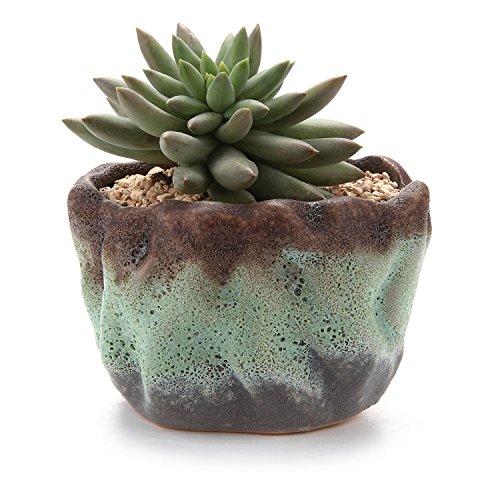 T4U 4.25 Air Bubble Glaze Square Sucuulent Cactus Plant Pots Flower Pots Planters Containers Window Boxes Green