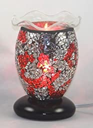 ELECTRIC TART BURNER AROMA LAMP OIL WARMER RED MOSAIC STYLE WITH DIMMER SWITCH 7.5\