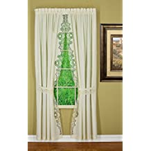 "Today's Curtain CA1022K Annabelle 84""L Panel Pair with Tiebacks Macrame Applique Curtain, Ecru, 80"" W x 84"" L"
