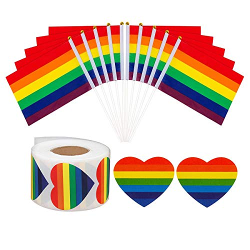 50 Pack Rainbow Gay Pride Stick Flag and 500-Count LGBT Love Rainbow Heart-Shaped Stickers Roll Decorations Supplies for Mardi Gras, Gay Pride Rainbow Party Gifts, Crafts and Envelope Sealing Labels]()