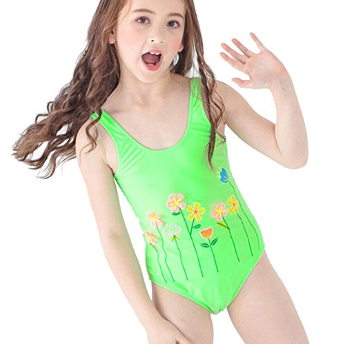 TiTCool Toddler Little Girls Swimsuit One Piece Bathing Suit Cute Flowers Beach 2-6 Years (2Y, Green)