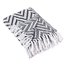 """DII Rustic Farmhouse Cotton Chevron Blanket Throw with Fringe For Chair, Couch, Picnic, Camping, Beach, & Everyday Use , 50 x 60"""" - Large Chevron Black"""