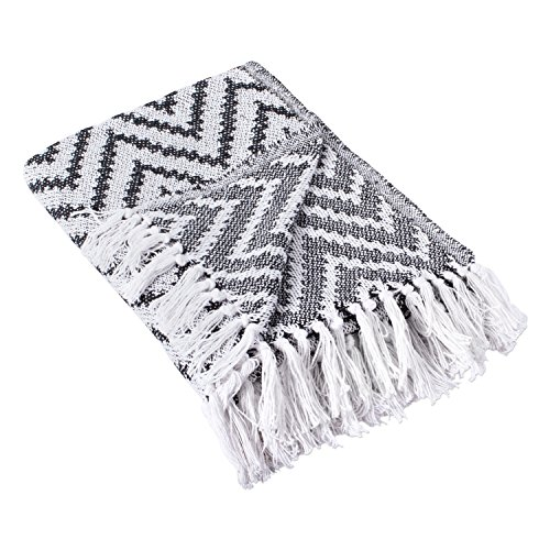DII 100% Cotton Chevron Herringbone Throw for Indoor/Outdoor Use Camping BBQ's Beaches Everyday Blanket - 50 x 60