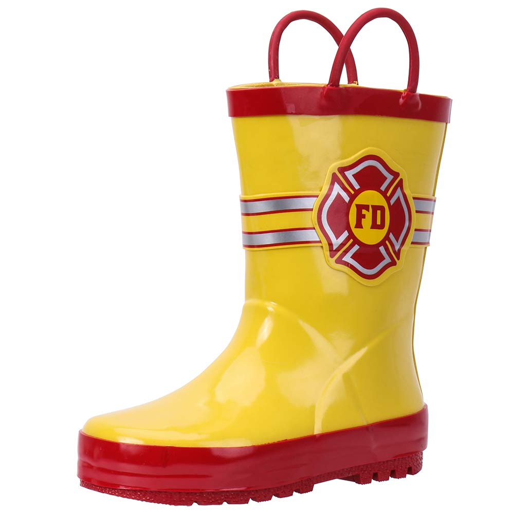 hiitater Boys Waterproof Rubber Rain Boot with Easy Pull On Handles