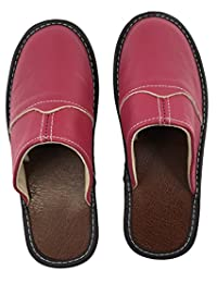 OSVINO Unisex Genuine Leather Slippers Flat House Shoes Closed Toe Slip On Outdoor Indoor
